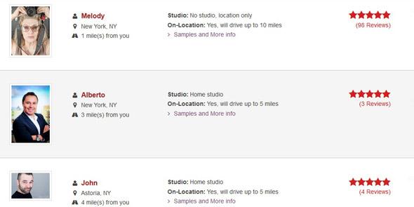 Screenshot of LookBetterOnline photographer search results