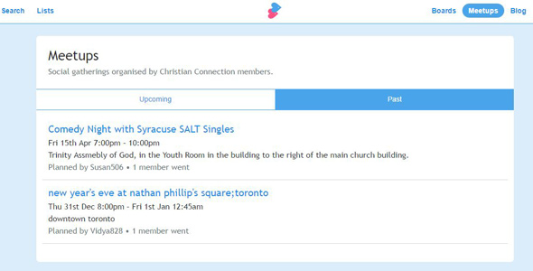 Screenshot of Christian Connection meet-ups page