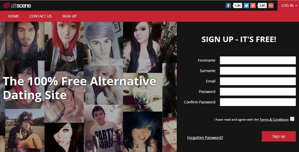 Screenshot of the AltScene.com homepage