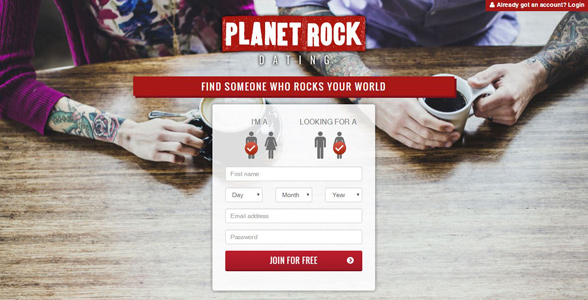 Screenshot of the Planet Rock Dating homepage