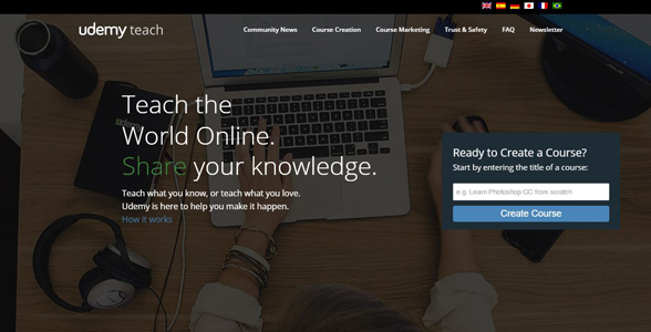 Screenshot of Udemy's instructor page